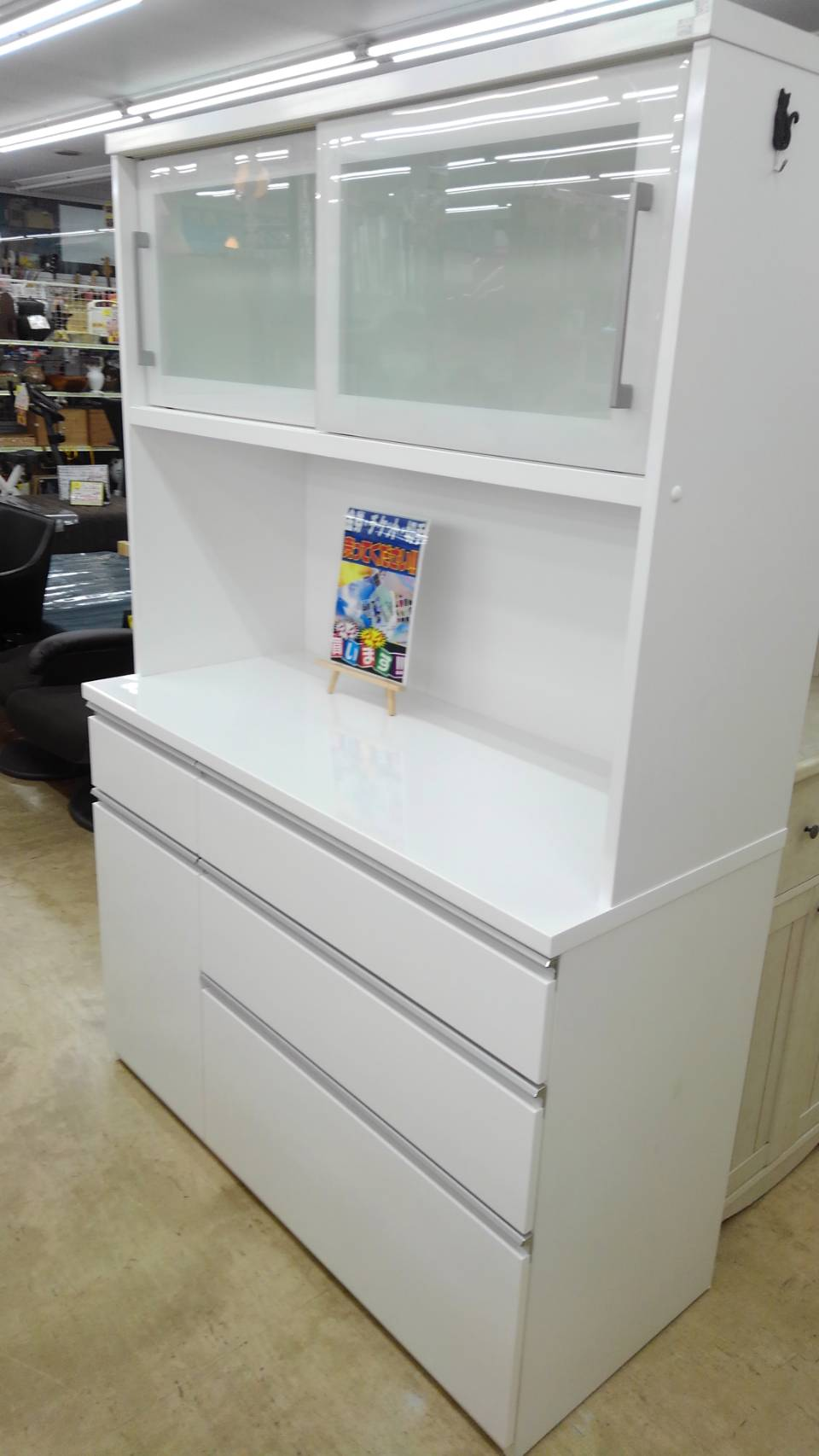 【レンジボード 2面レンジボード キッチン家具 収納家具 食器棚 NITORI ニトリ 白】買い取り致しました!の買取-