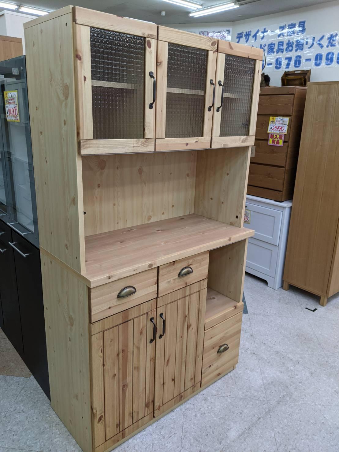 【大川家具/カントリー調3面レンジボード/パピヨン/パイン材】お買取させて頂きました。の買取-