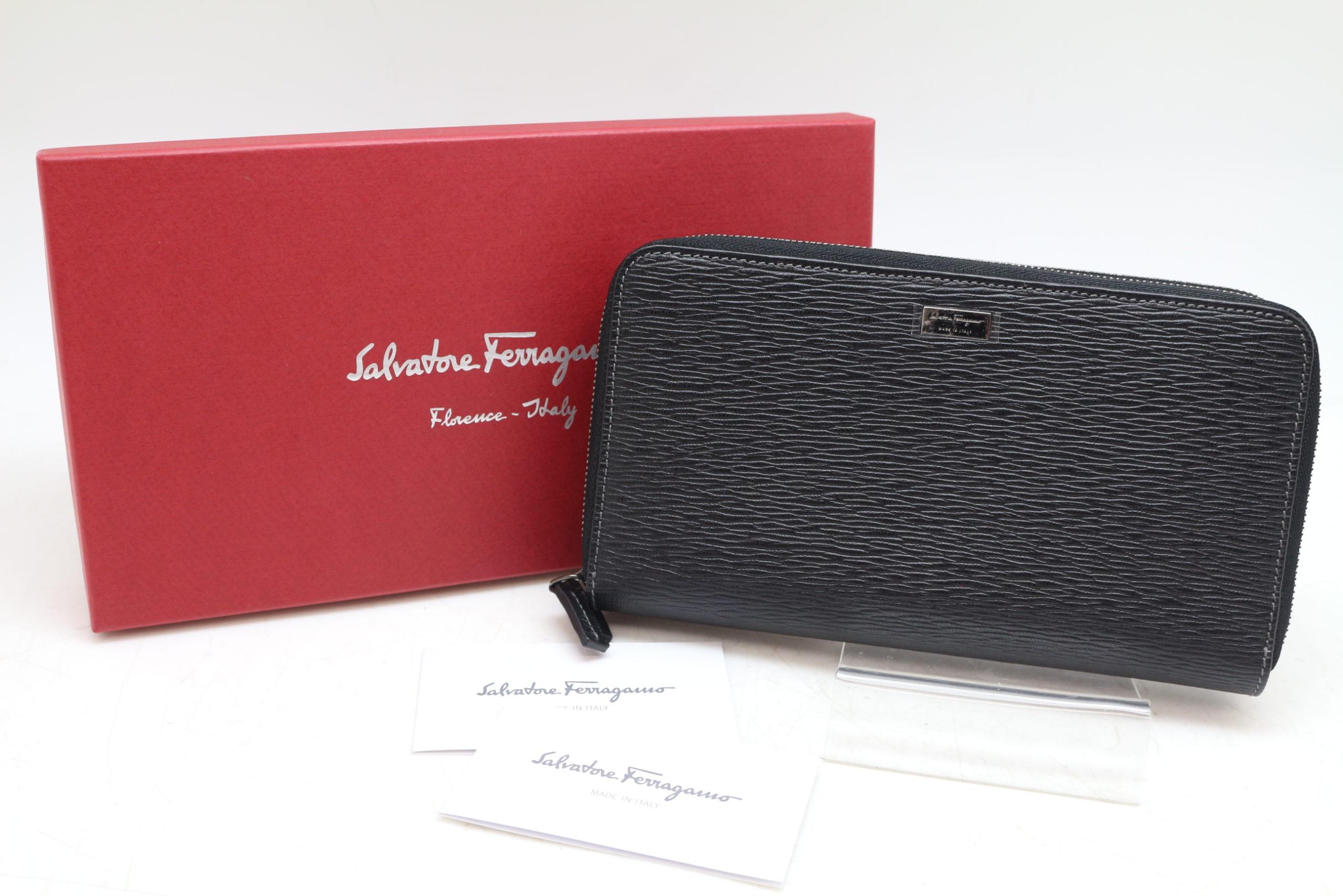 Salvatore Ferragamo/サルバトーレ フェラガモ 249540 Wファスナー 長財布 ブラック ダブル ラウンドファスナーを買取させて頂きました!!の買取-