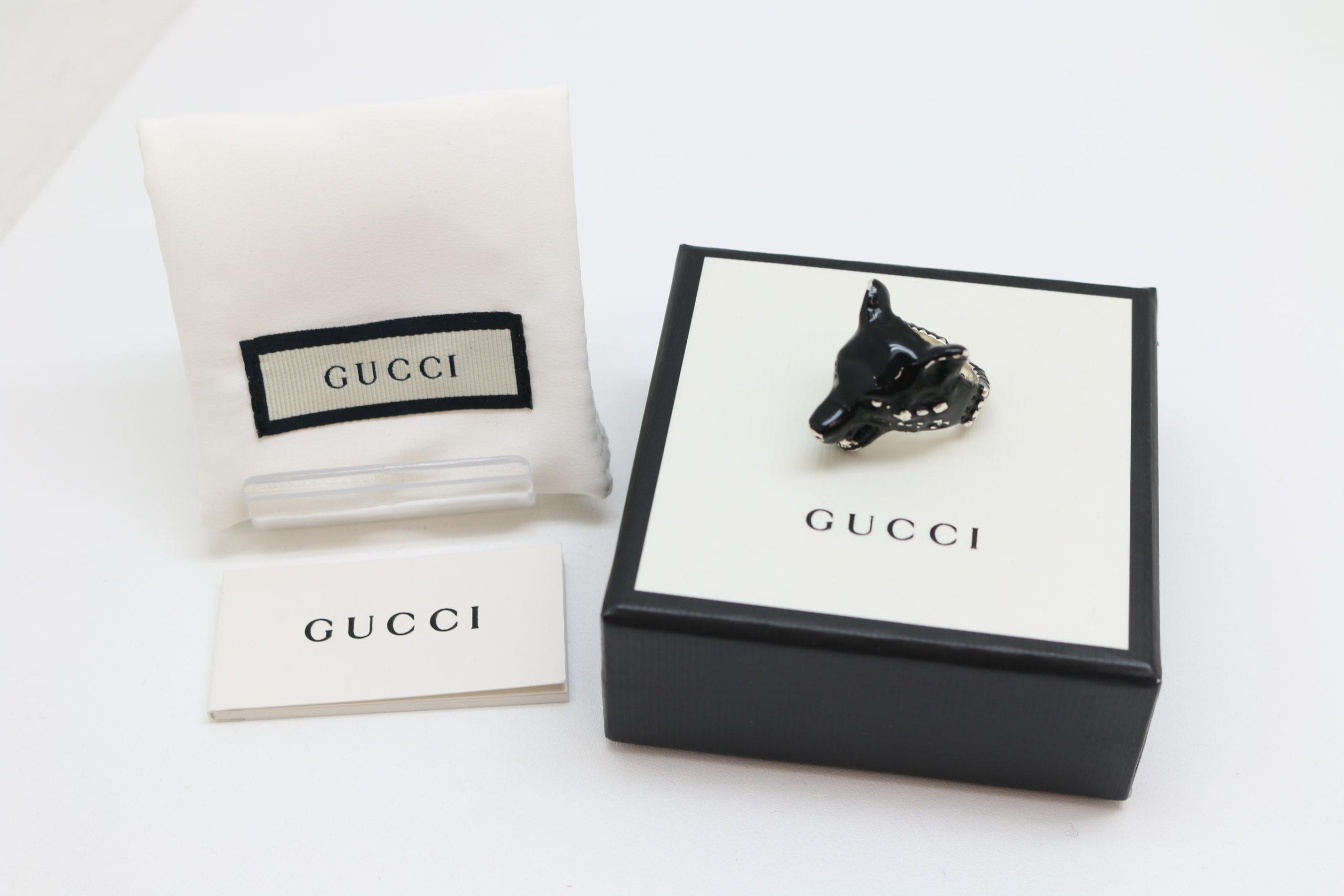 GUCCI/グッチ アンガーフォレスト ウルフヘッド リング シルバー 925 エナメル 15号 指輪 ブラック を買取させて頂きました!!の買取-
