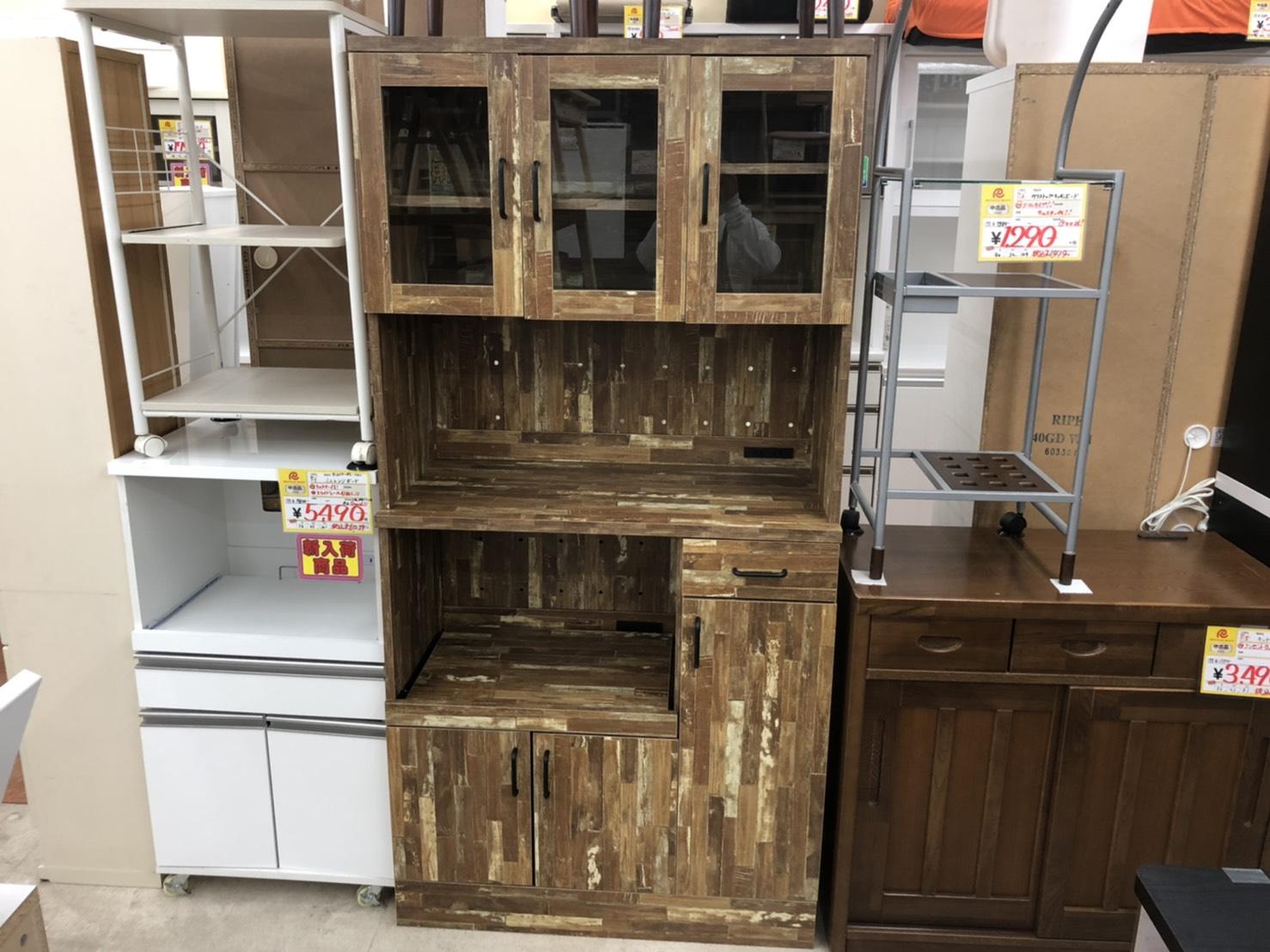 オシャレ ヴィンテージ調 3面 レンジボード 食器棚 をお買取りさせて頂きました!!の買取-