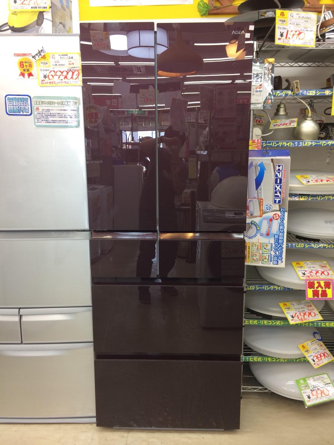 久々に大きな冷蔵庫入荷しました!「アクア/AQUA 501L冷蔵庫 ガラストップタイプ AQR-FG50D」を買取致しました。の買取-