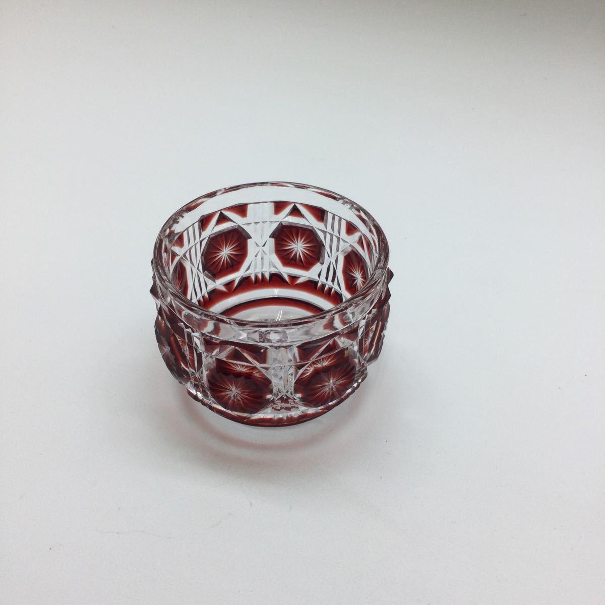 【美品!!】SHIMADZU 島津 薩摩 切子 ぐい呑 グラス カットグラス クリスタルグラス 工芸 SHIMAZU 霧子 桐子 赤 レッド 小鉢 冷酒グラスを買取りさせて頂きました。の買取-