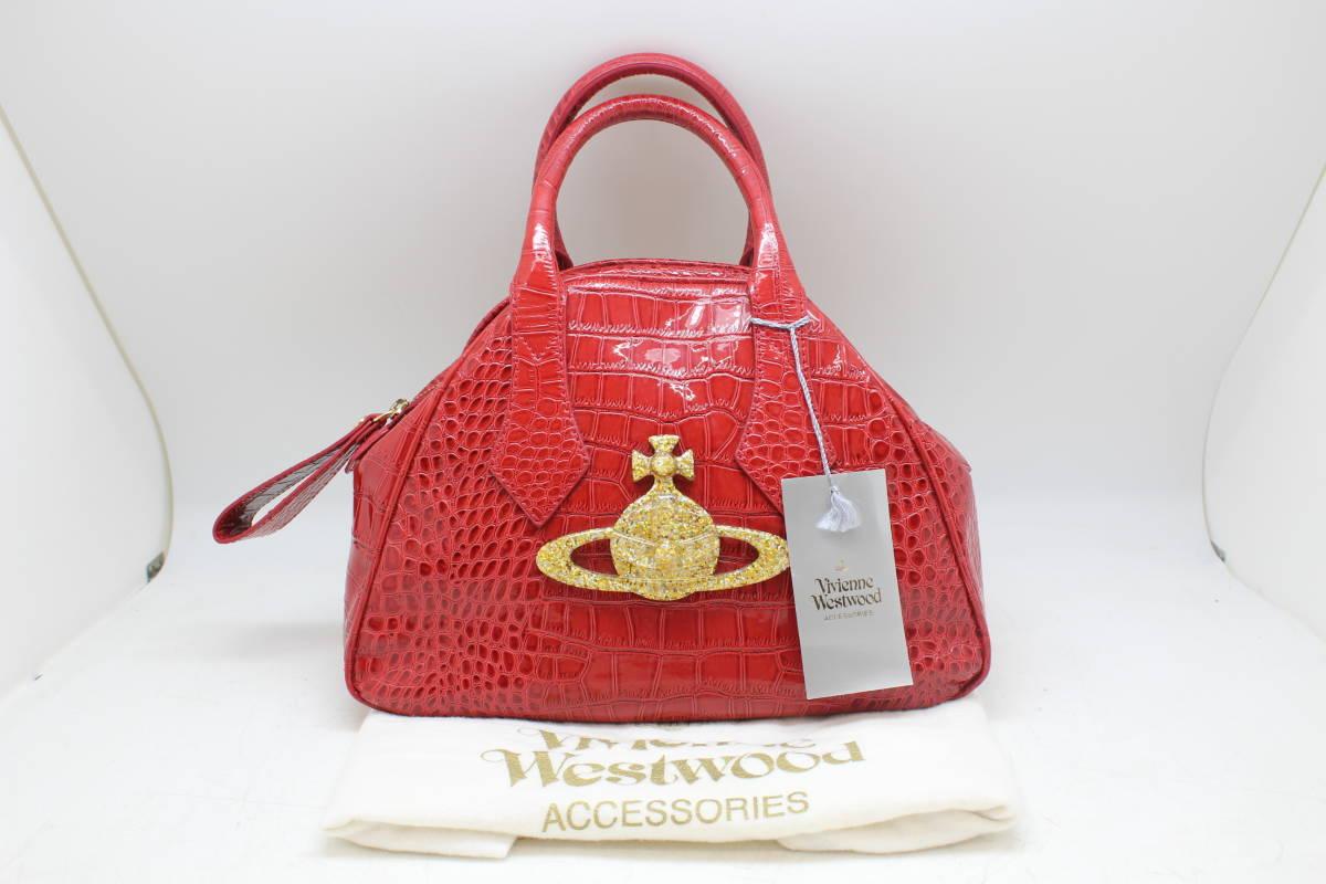 Vivienne Westwood/ヴィヴィアンウエストウッド ハンドバッグ 5748V CHANCERY ROSS クロコ型押しレザー レッドを買取りさせて頂きました。の買取-