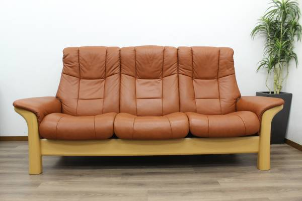 (福岡市城南区)エコーネス ストレスレス ハイバック ウィンザー 本革 3Pソファの買取-250000