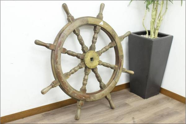 (福岡市早良区)舵輪 かじ アンティーク 木製 ステアリングホイール ハンドル 船の買取-